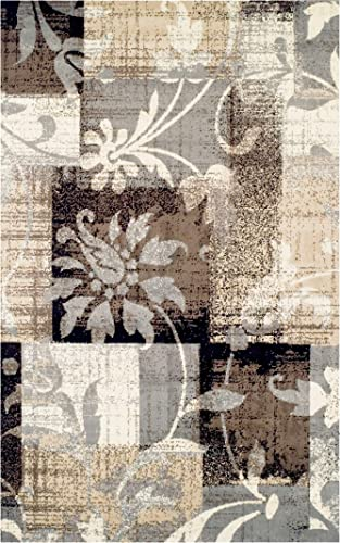 Superior Designer Pastiche Area Rug, Distressed Geometric Floral Patchwork Pattern, 9 x 12 , Chocolate