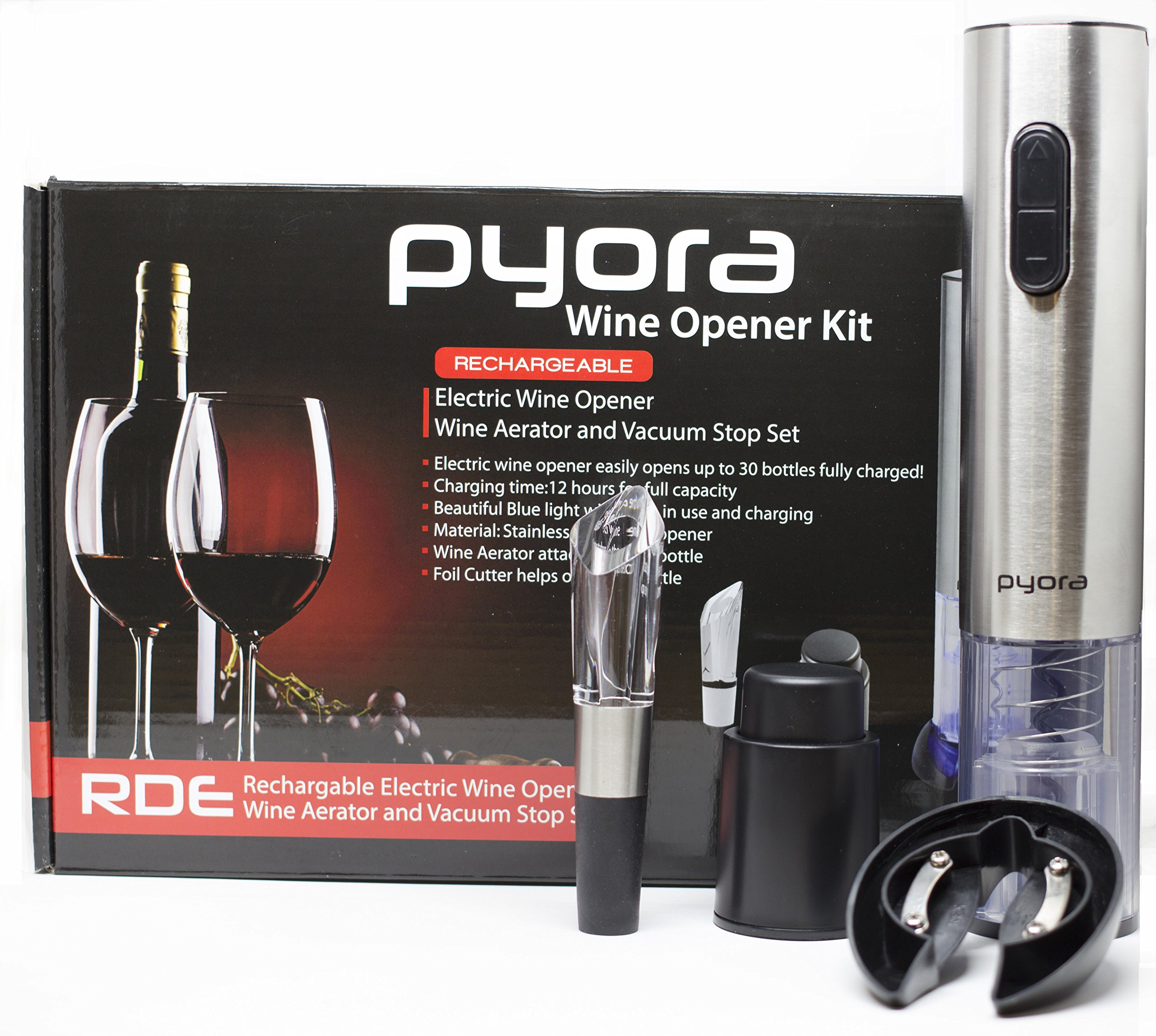 Electronic Wine Opener Gift Set, Rechargeable Stainless Steel Bottle Opener, Foil Cutter, Stopper, Aerator Pourer