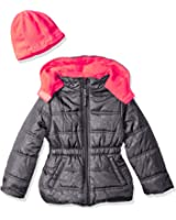 Pink Platinum Girls' Star Printed Puffer with Hat