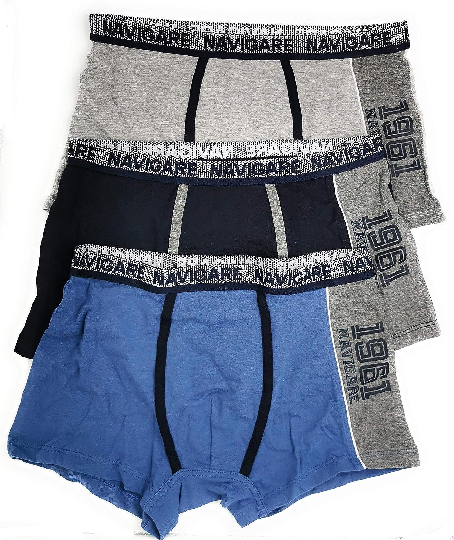 NAVIGARE Boxer Cotone Junior Originale Fantasie alla Moda 95/% Cotone 3 Pezzi