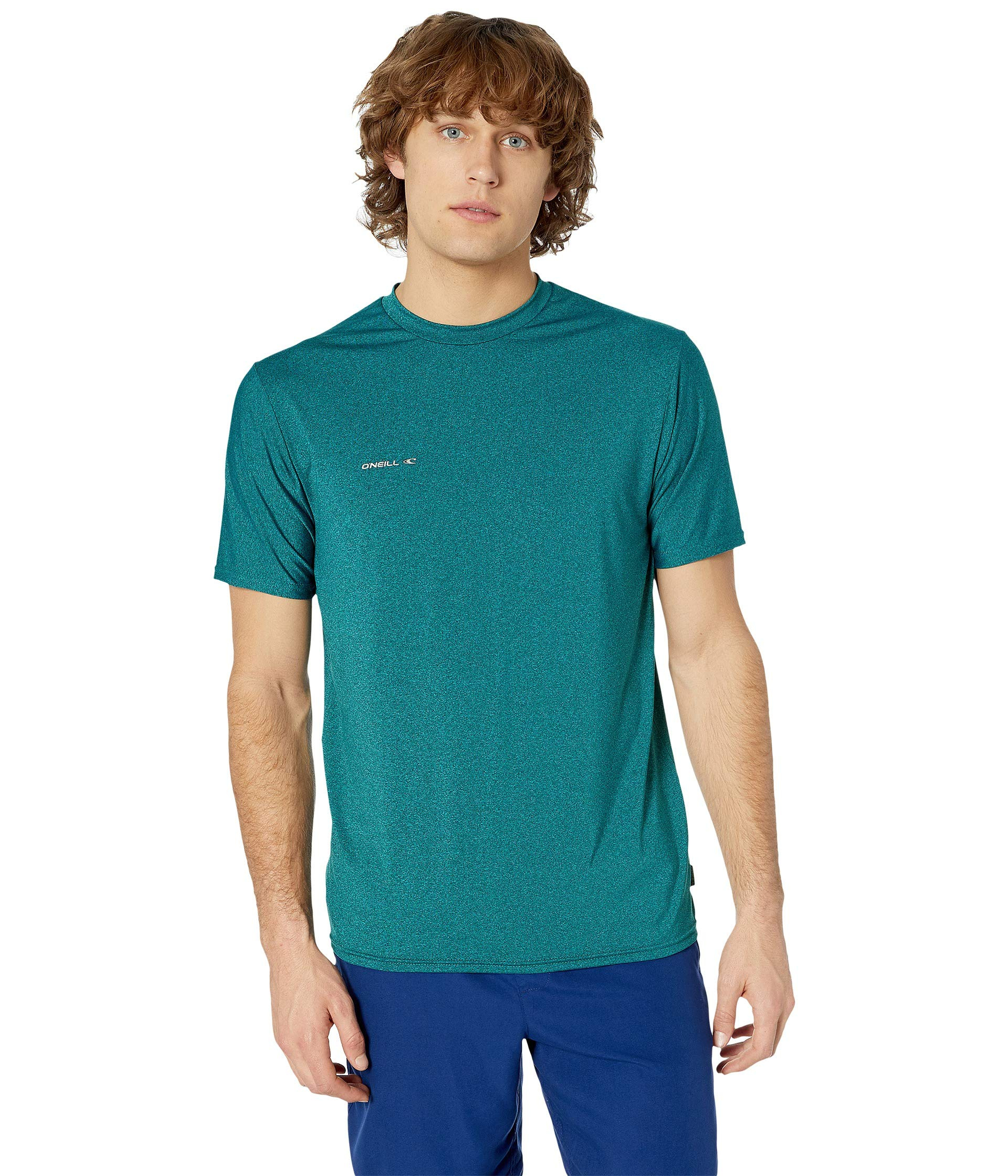 O'Neill Wetsuits Men's Hybrid UPF 50+ Short Sleeve Sun Shirt, Teal, Small by O'Neill Wetsuits (Image #1)
