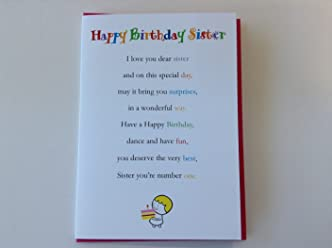 Happy Birthday Sister - Cute Happy Birthday Sister Luxury Greetings Cards by Clarabelle Cards 5 x 7 inches