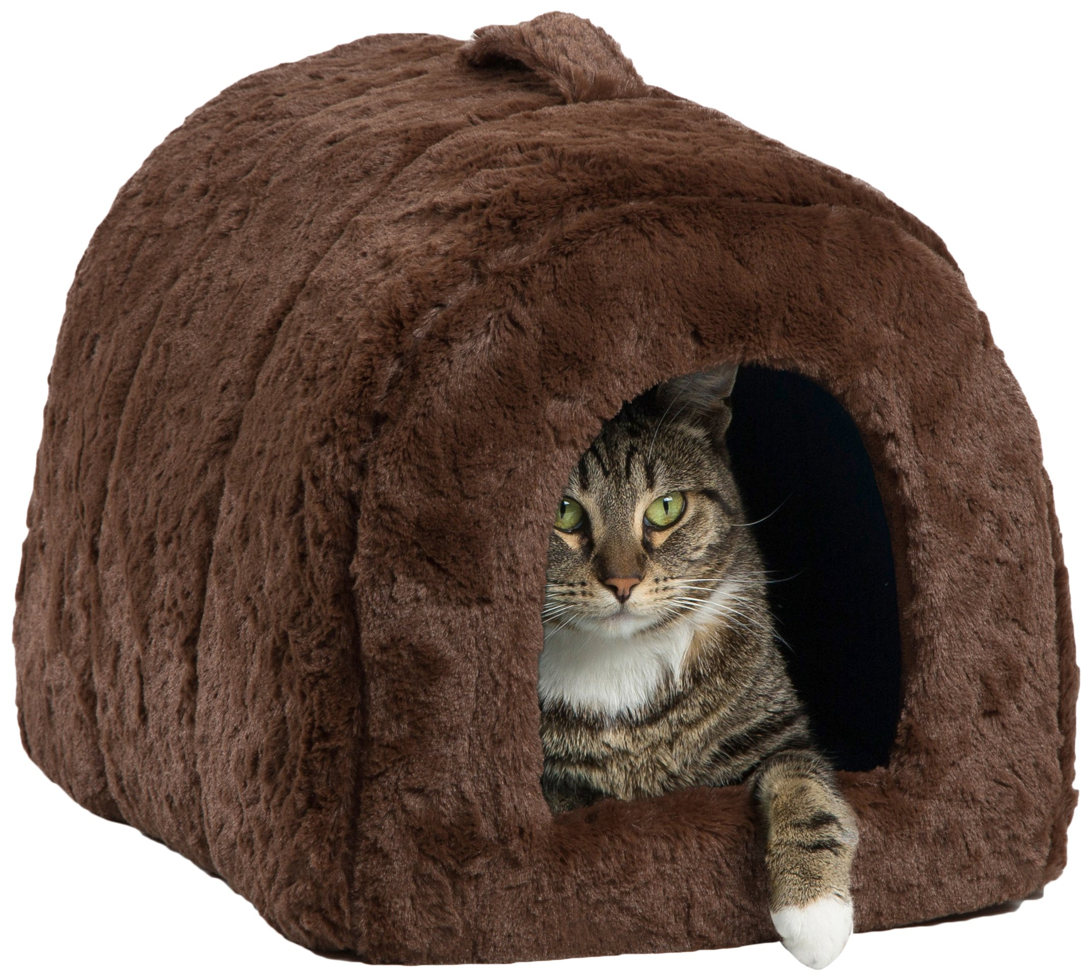 Best Friends by Sheri Pet Igloo Hut, Lux, Dark Chocolate - Cat and Small Dog Bed Offers Privacy and Warmth for Better Sleep - 17x13x12 - for Pets 9lbs or Less