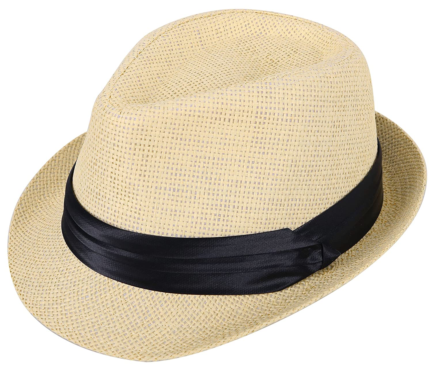 98e2658f11f15 Beautifully woven straw pattern. Classic teardrop shaped pinched crown.  Satiny smooth ribbon hat band d¨¦cor accent. Inner sweat absorbent band  helps wick ...