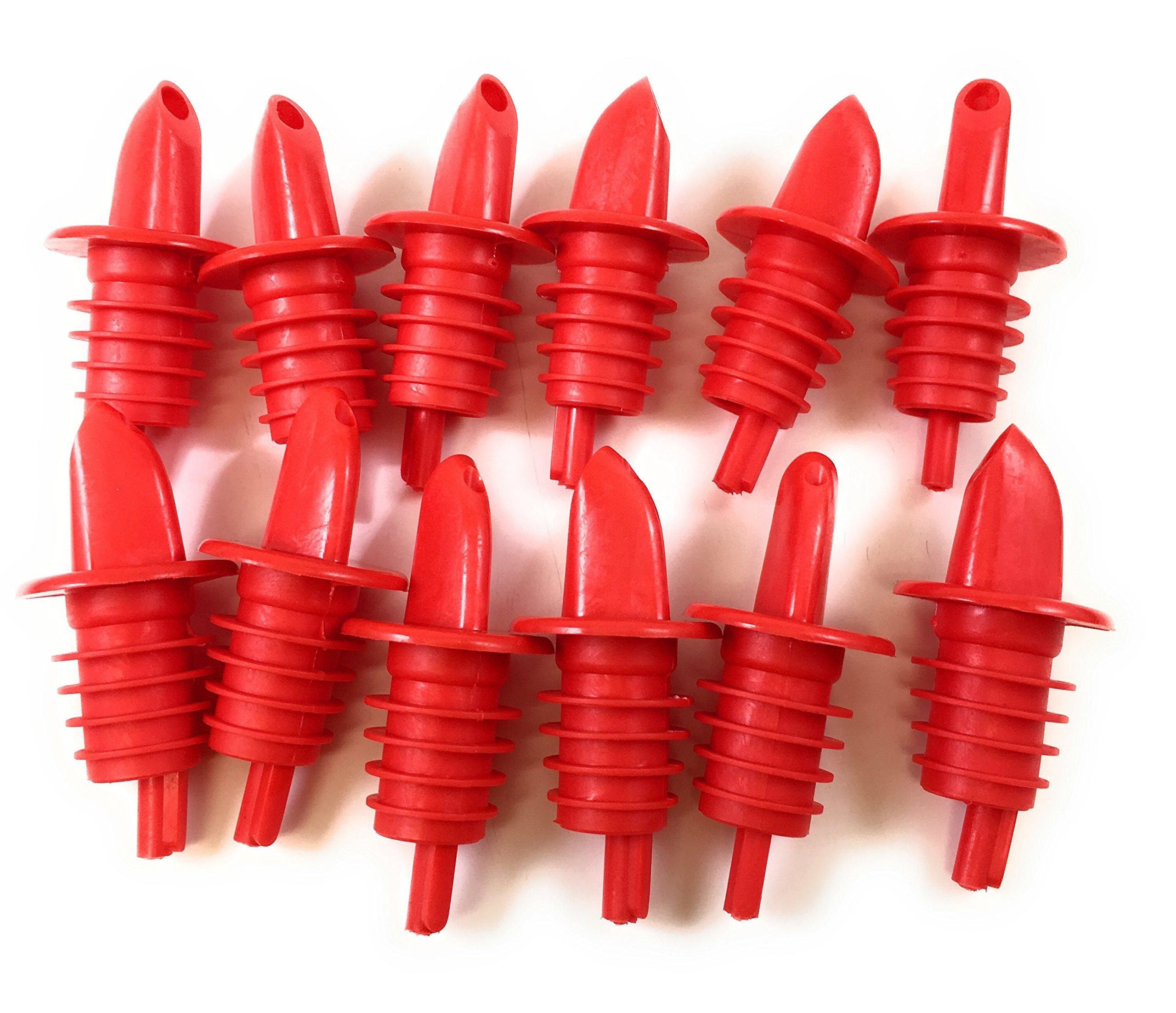 Barwareaffair Free-Flow Plastic Liquor Bottle Speed Pourers (Red) by Barwareaffair