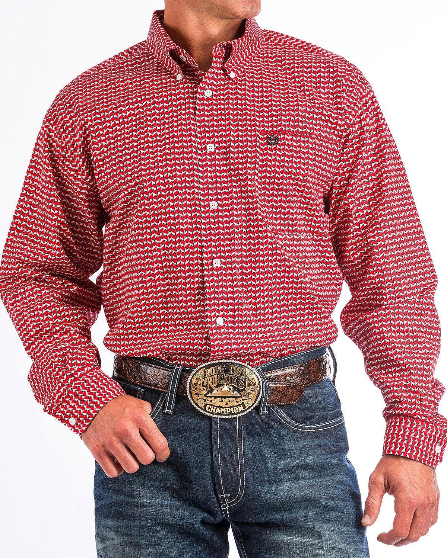 Cinch Men's Hexagon Print Western Shirt Red XX-Large