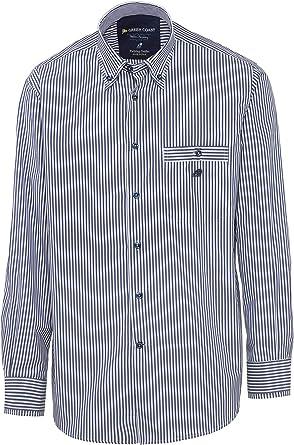 GREEN COAST Camisa de Hombre a Rayas Azul 100% algodón Made in Italy Ajuste clásico: Amazon.es: Ropa y accesorios