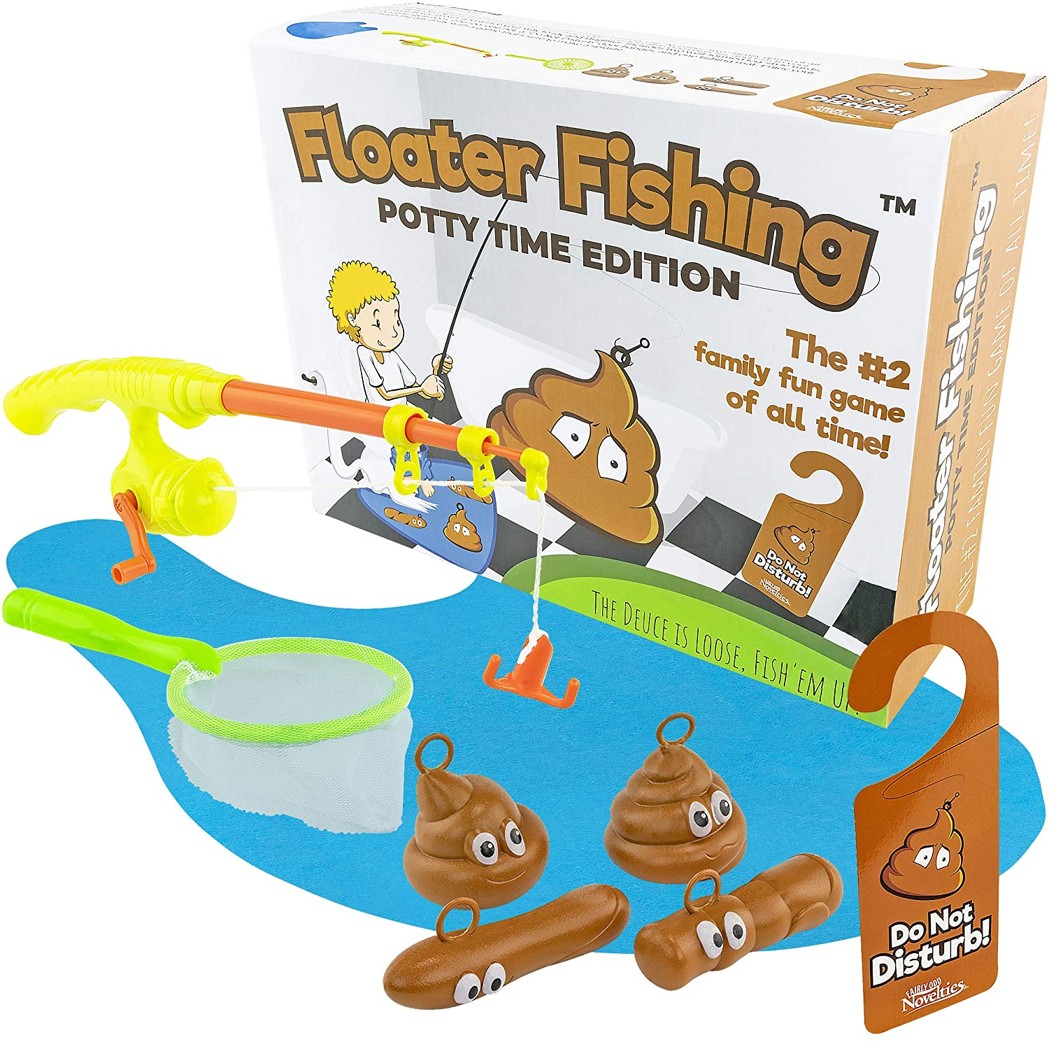 Fairly Odd Novelties Fishing for FLOATERS Potty TIME Edition! Poop Fishing  Games Poop Gag Gifts Poop Emoji Poop Toys Floater Fishing Funny Poop