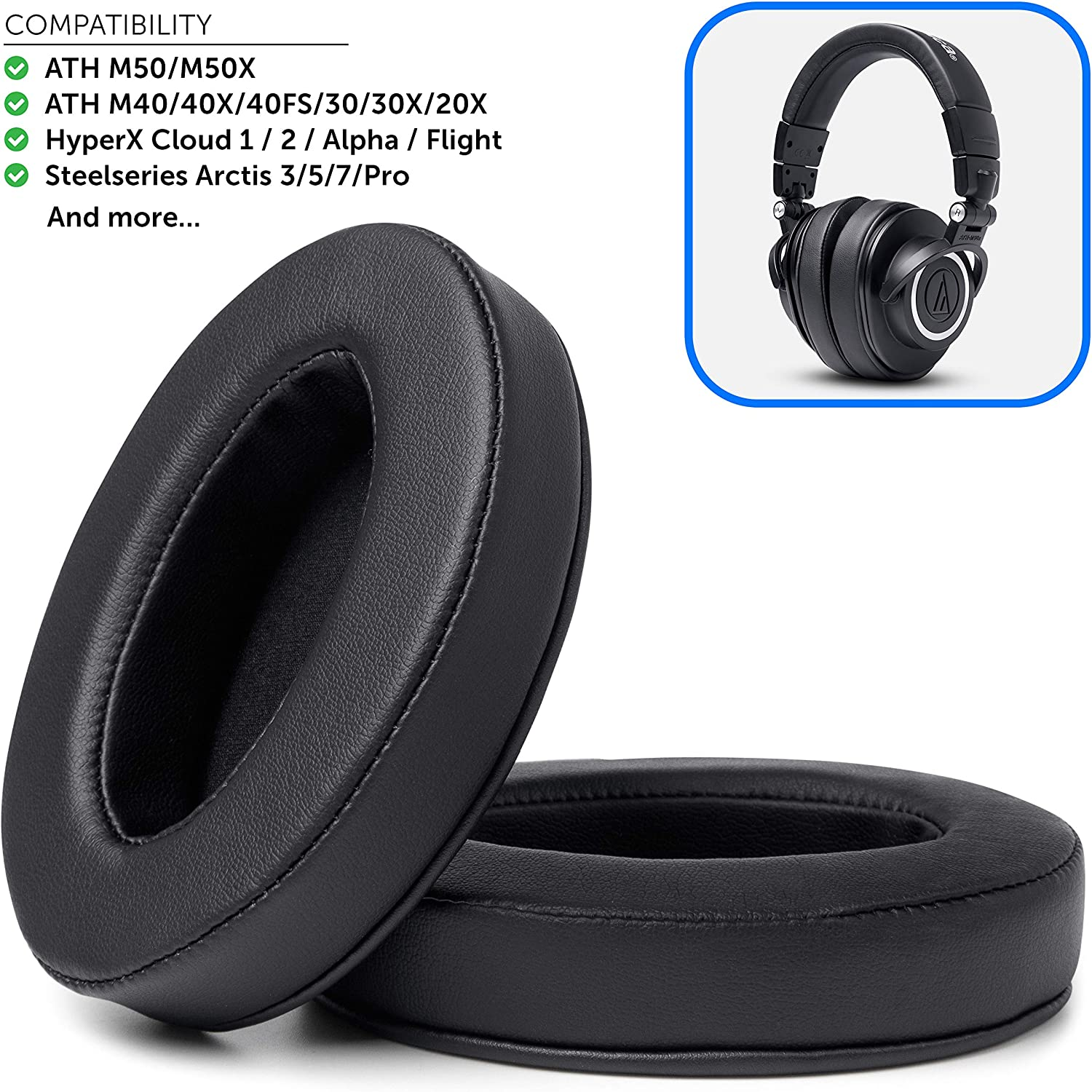 Upgraded ATH M50X Earpads Made by Wicked Cushions - Compatible with Audio Technica M40X / M30X / M20X / M50XBT / HyperX Cloud/SteelSeries Arctis/Turtle Beach Recon & More (Full List Inside)