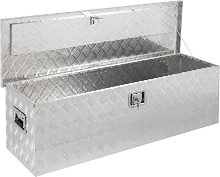 Yaheetech 24 inch Heavy Duty Aluminum Truck Tool Box Organizer Stainless Steel Trailer Tool Box with Lock Truck Bed Tool Box for Bed of Truck