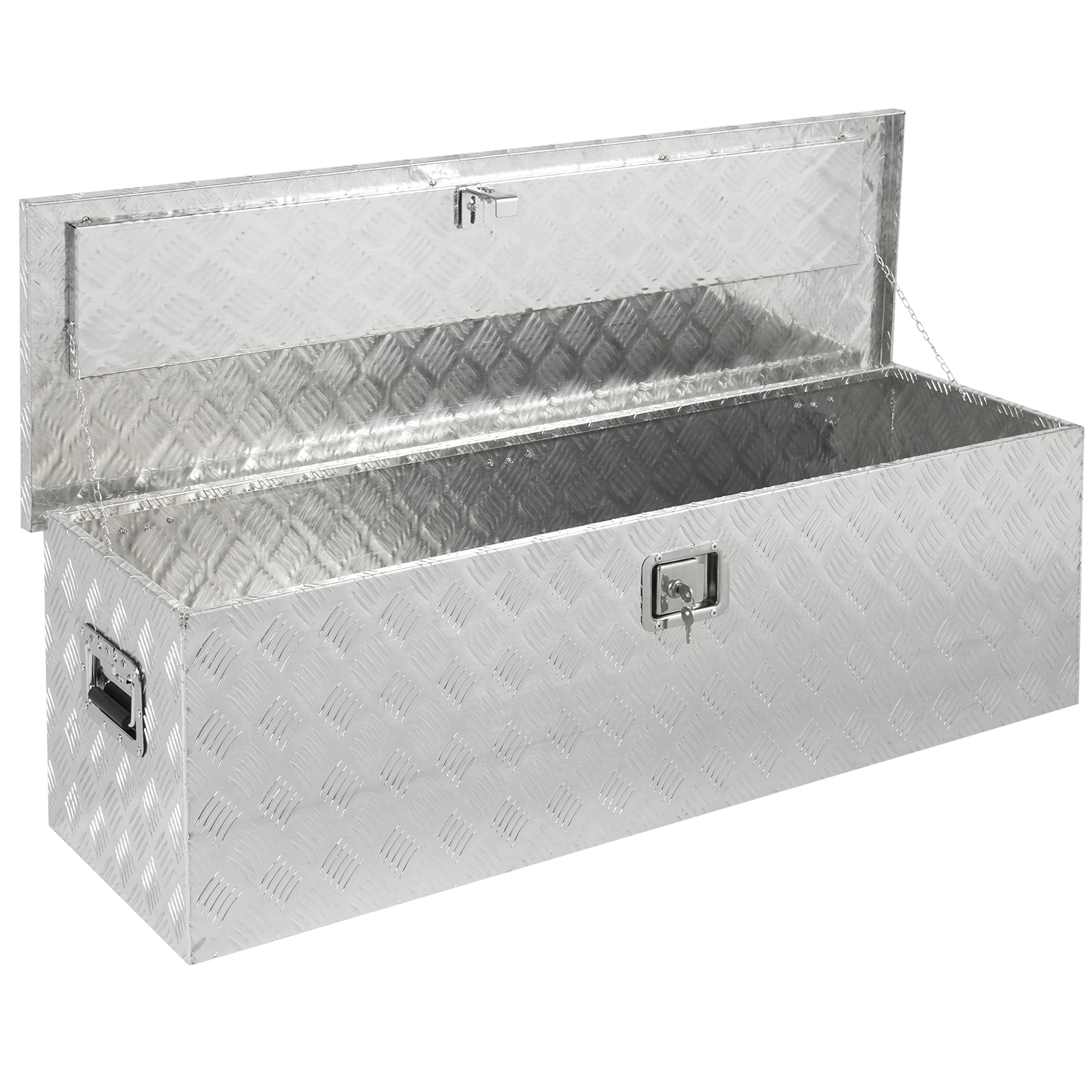 Best Choice Products 49'' Aluminum Camper Tool Box W/ Lock Pickup Truck Bed ATV Trailer Storage