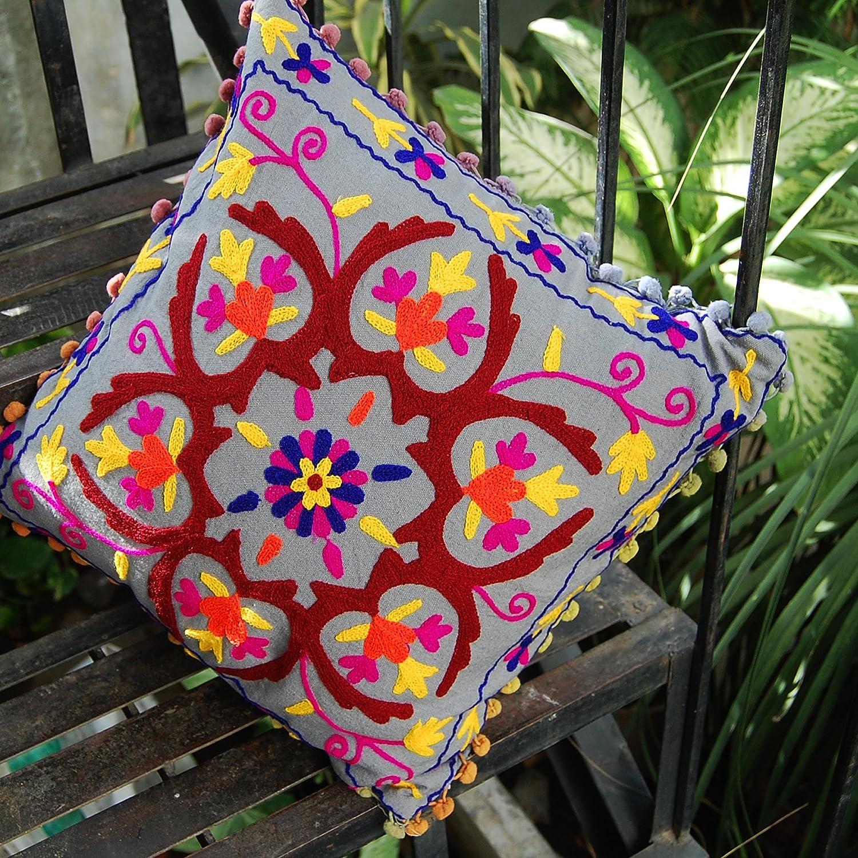 HANDICRAFTOFPINKCITY 16」グレー色SuzaniクッションカバーThrowヴィンテージコットン手刺繍枕カバーインドのホームデコレーション B01AD6UPF0