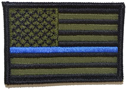 Image Unavailable. Image not available for. Color  Thin Blue Line American  Flag - 2x3 Hat Patch (Olive ... b729fe62356