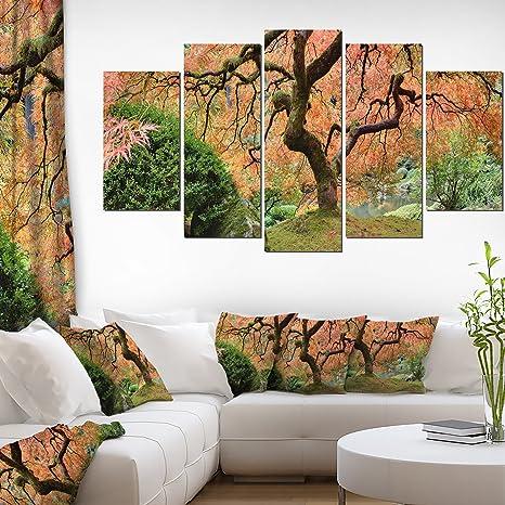 Amazon Com Designart Old Japanese Maple Tree Landscape Photography Canvas Print 60x32 5 Piece 60x32 5 Panels Diamond Shape Red Posters Prints