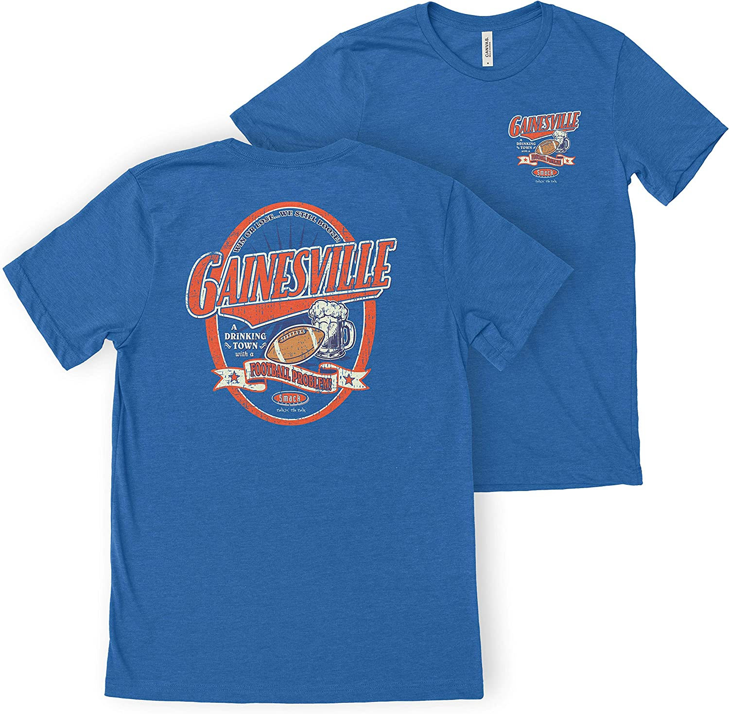 Smack Apparel Florida Football Fans Sm-5X Gainesville A Drinking Town with A Football Problem Heather Royal T-Shirt