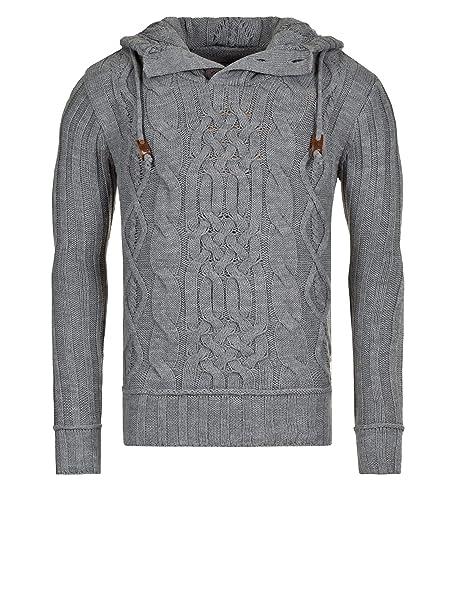 rerock 2014 - Jersey de punto Sudadera con capucha Jersey para hombre Star Mod 15930 d.g gris S: Amazon.es: Ropa y accesorios
