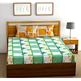 FabTheory Boxed Roses 104 TC 100% Cotton Double Bedsheet with 2 Pillow Covers, Green
