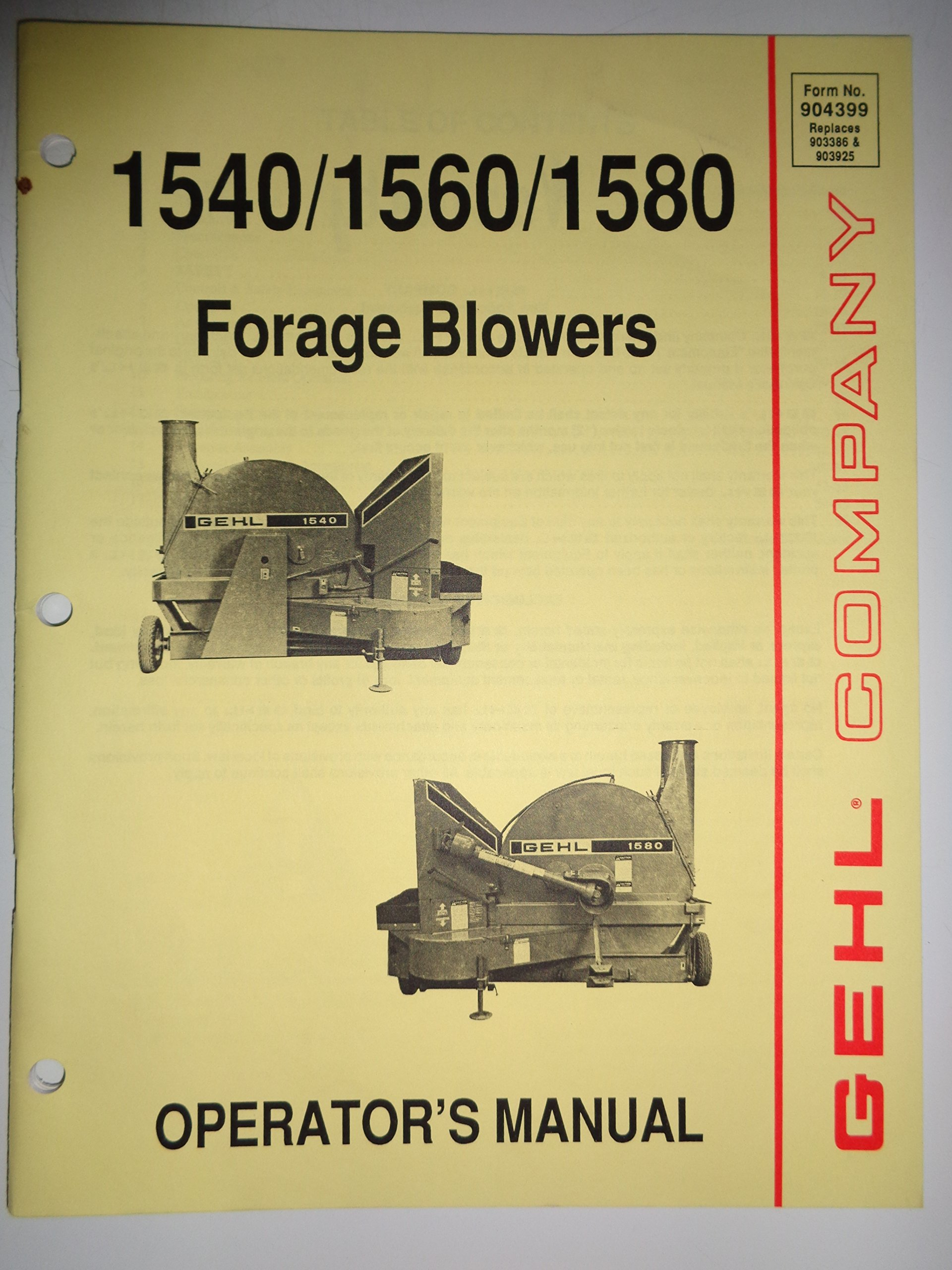 Gehl 1540 1560 1580 Forage Blower Operators Owners Manual 4/89: gehl:  Amazon.com: Books