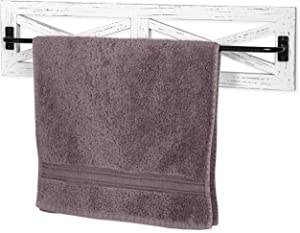 Ilyapa Rustic Towel Bar for Bathroom, 24x6 Inches - Wall Mounted Towel Rack with White Weathered Wood & Black Metal Bar, Farmhouse Decor