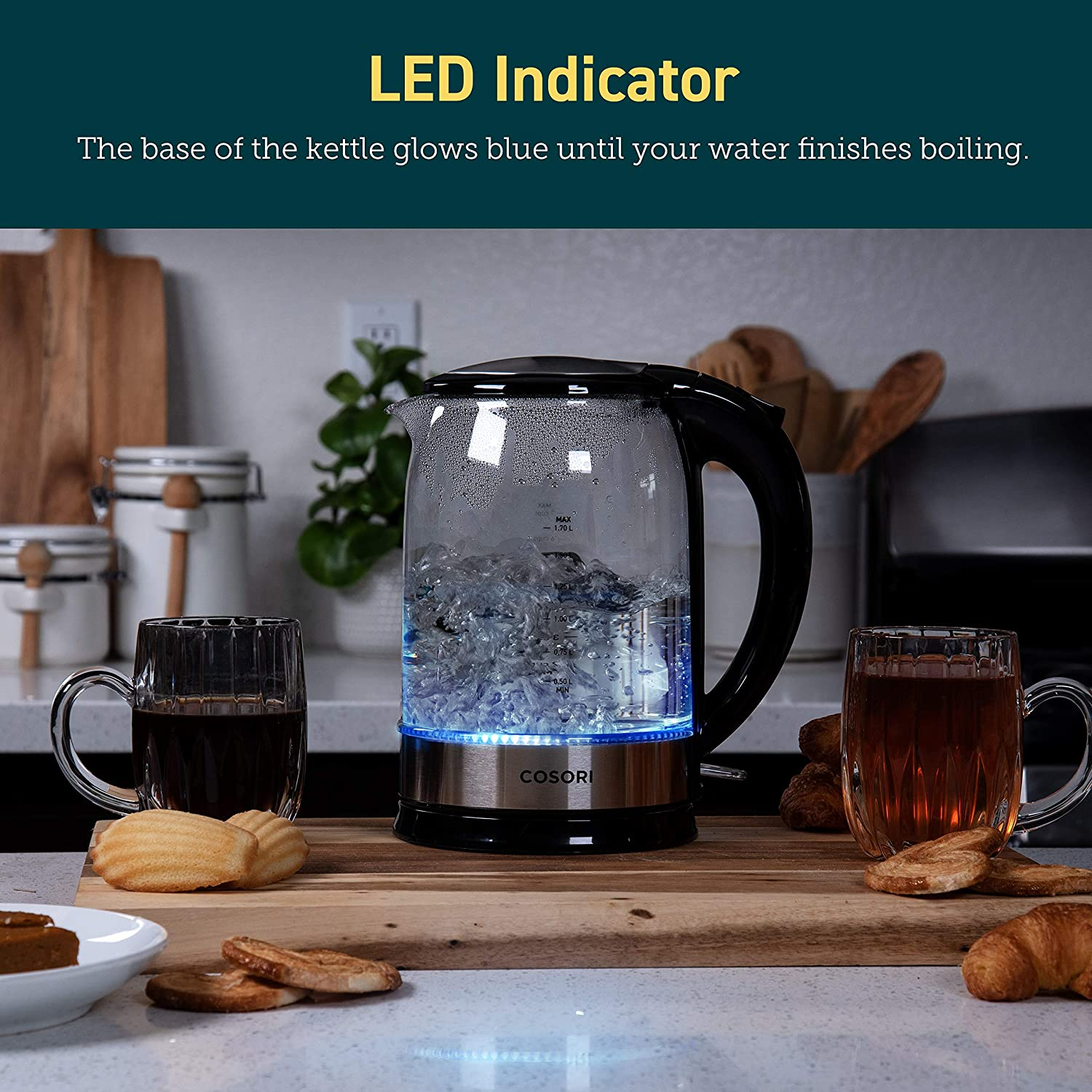 COSORI Electric Kettle Glass Hot Water Boiler & Tea Heater with LED Indicator Inner Lid & Bottom, Auto Shut-Off&Boil-Dry Protection, BPA Free, 1.7L, Black: Kitchen & Dining