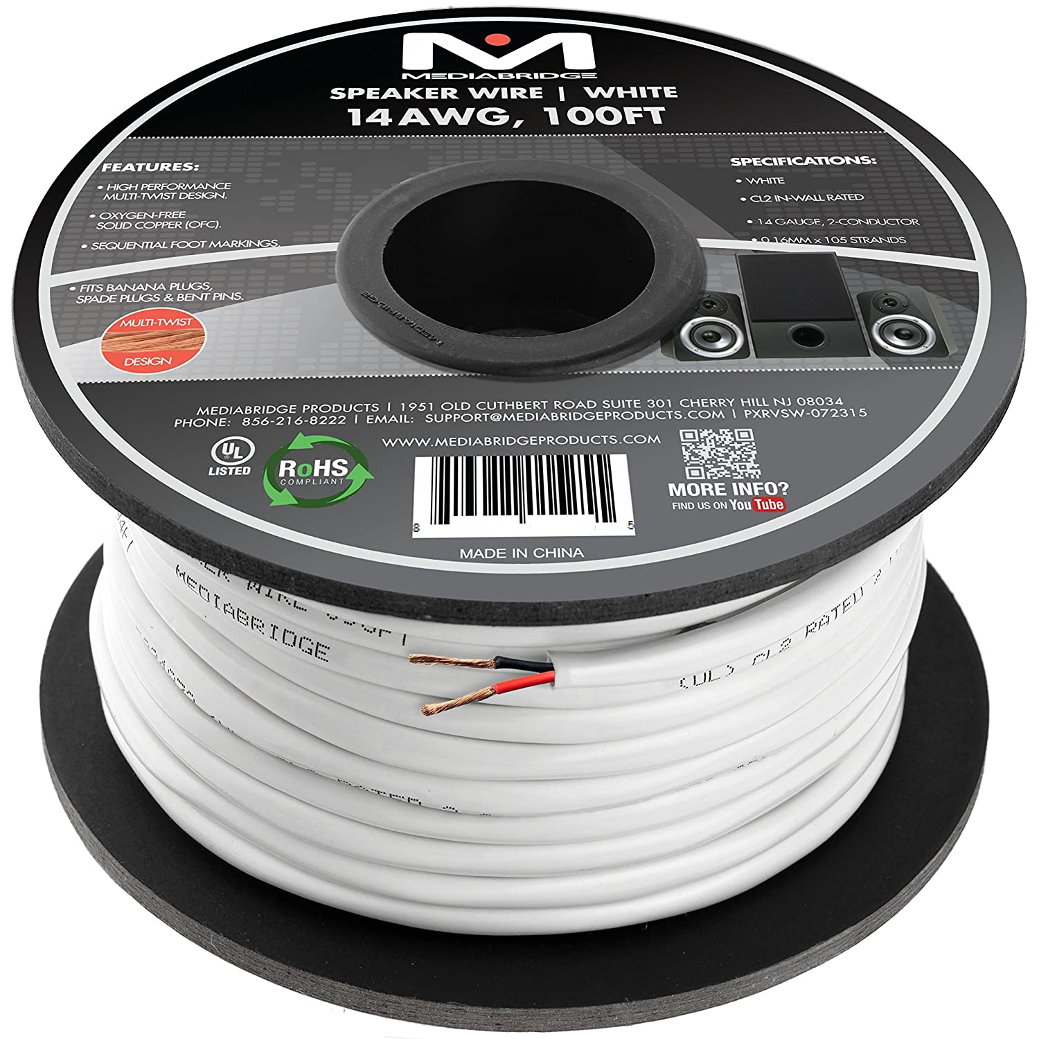 100ft 12AWG 12//2 Gauge Oxygen Free Pure Bare Copper Speaker Wire Cable
