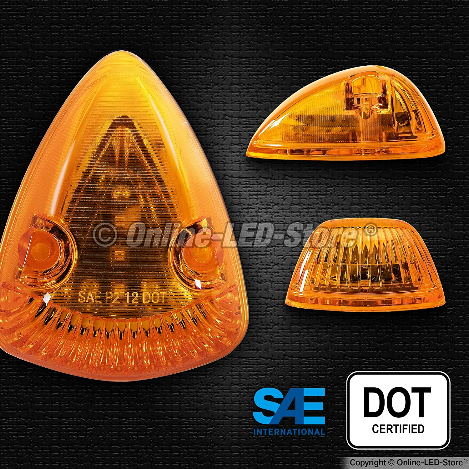 1pc Amber LED Cab Lights DOT//SAE Certified Waterproof LED Roof Top Marker Running Lights - Heavy Duty Universal Fit or Replacement for 94-98 Dodge Ram 12 LED