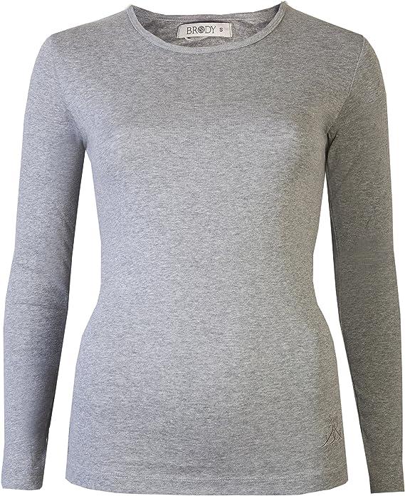 Brody & Co - Camiseta de manga larga, elástica, lisa, cuello redondo, de algodón, de muy buena calidad, para mujer