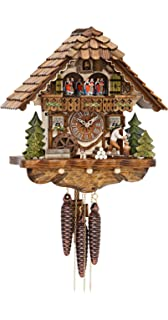 German Cuckoo Clock 1-day-movement Chalet-Style 13.00 inch - Authentic black