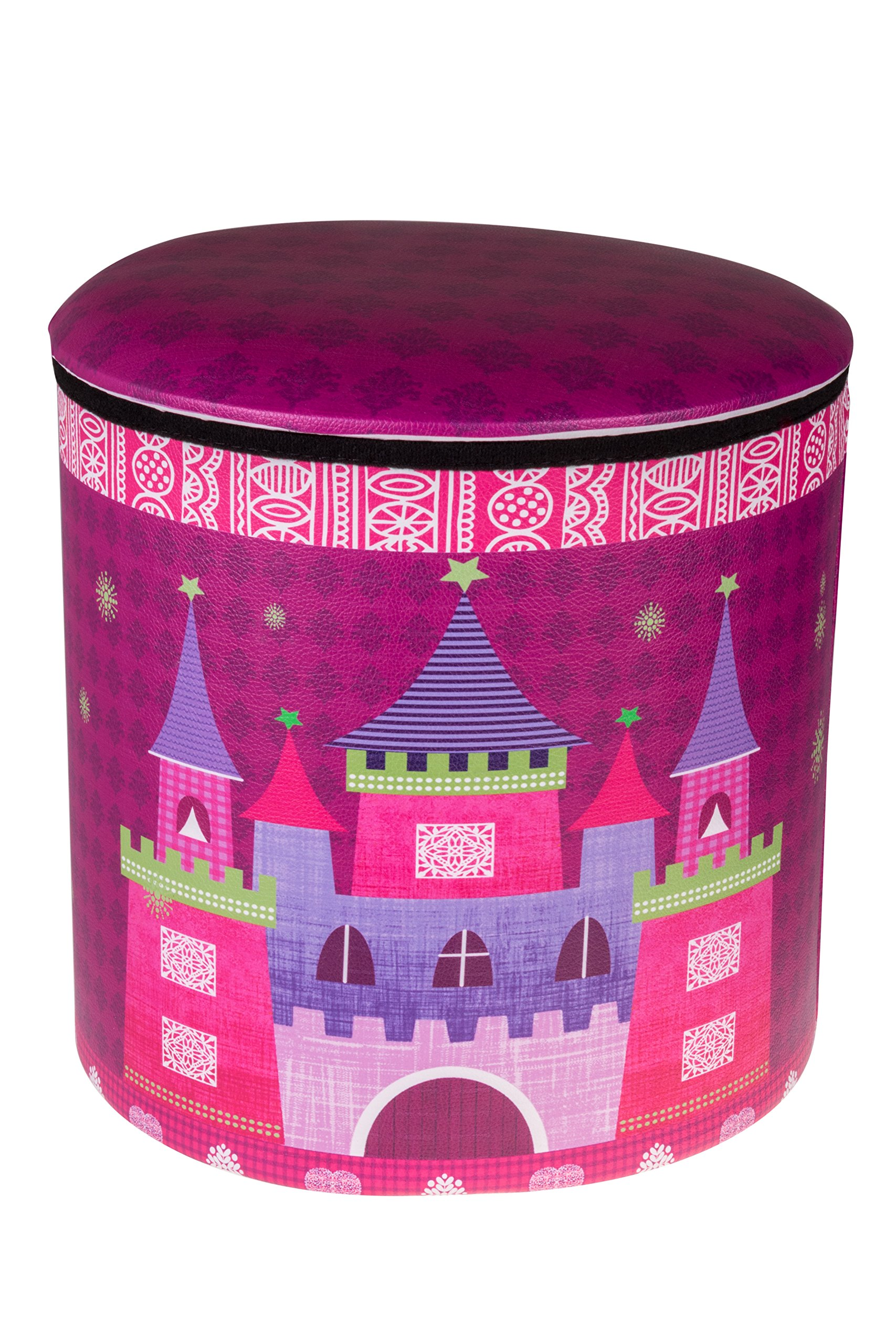 Cute Pink Princess Castle & Carriage Collapsible Storage Organizer by Clever Creations | Folding Storage Ottoman for Bedroom & Living Room | Perfect Size for Books, Clothes, Electronics, or Gadgets