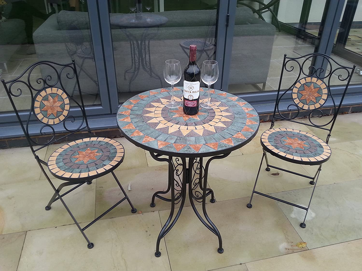 Fine Fabulous French Style Ornate Mozaic Tiled Metal Garden Bistro Set Home Interior And Landscaping Ponolsignezvosmurscom