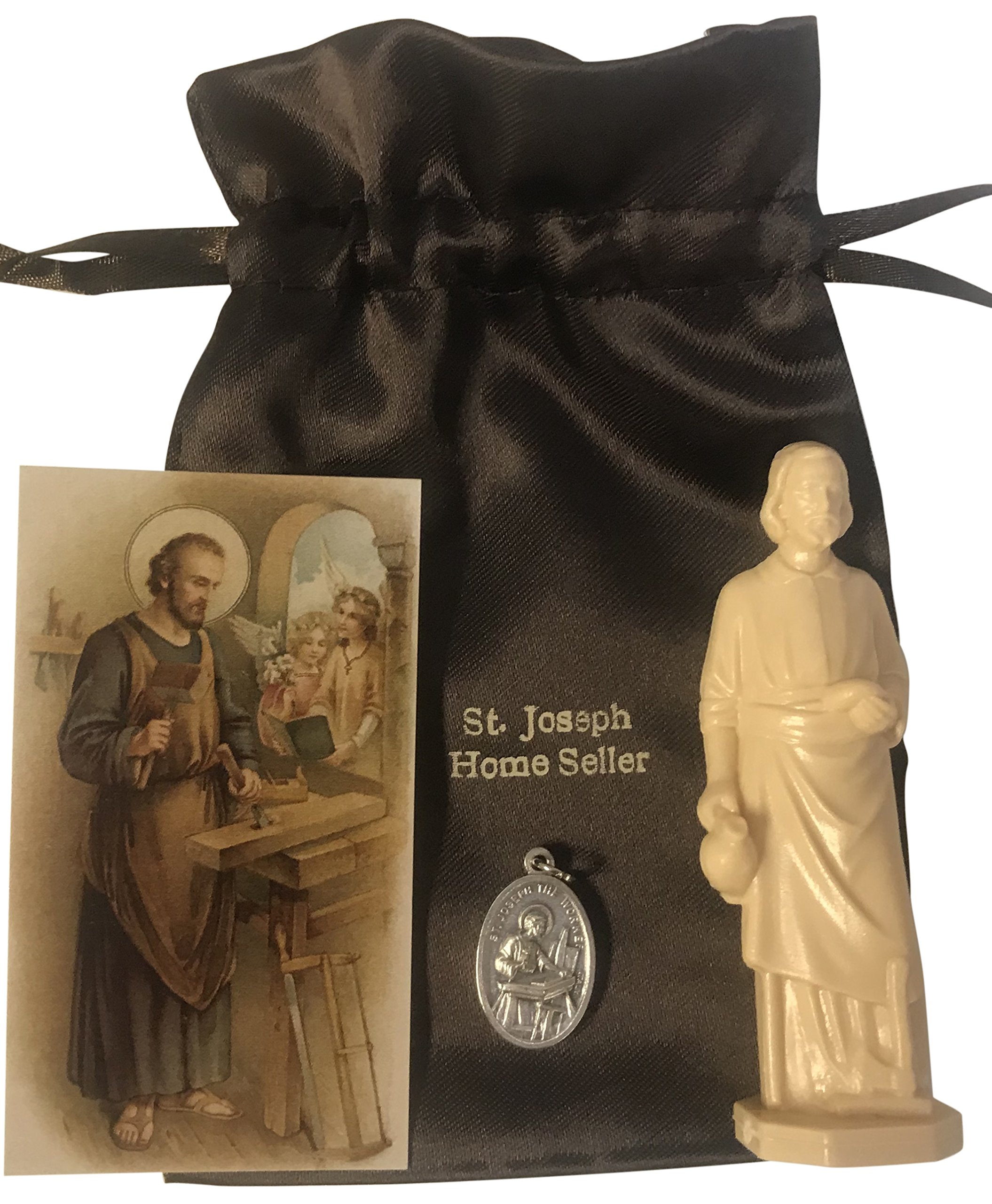 Westman Works Saint Joseph Home Selling Kit with Instructions Holy Card Medal and Burial Bag Bundle
