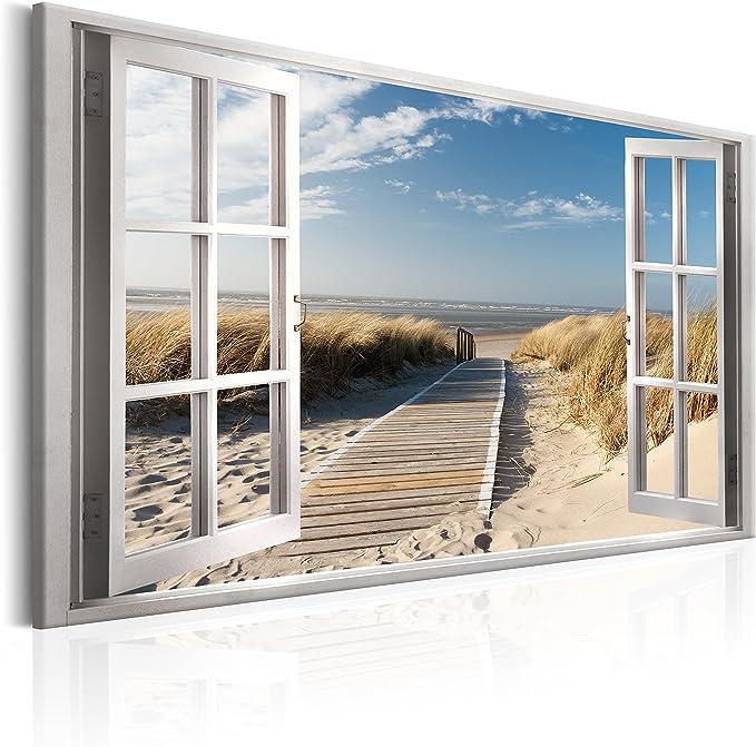 Wandbilder XXL Kunstdrucke 120 cm x 80 cm in Farbig 120//80 cm als Foto auf Leinwand Querfarben Fensterblick Blick durch Fenster Wanddekoration Weg zum Strand 4