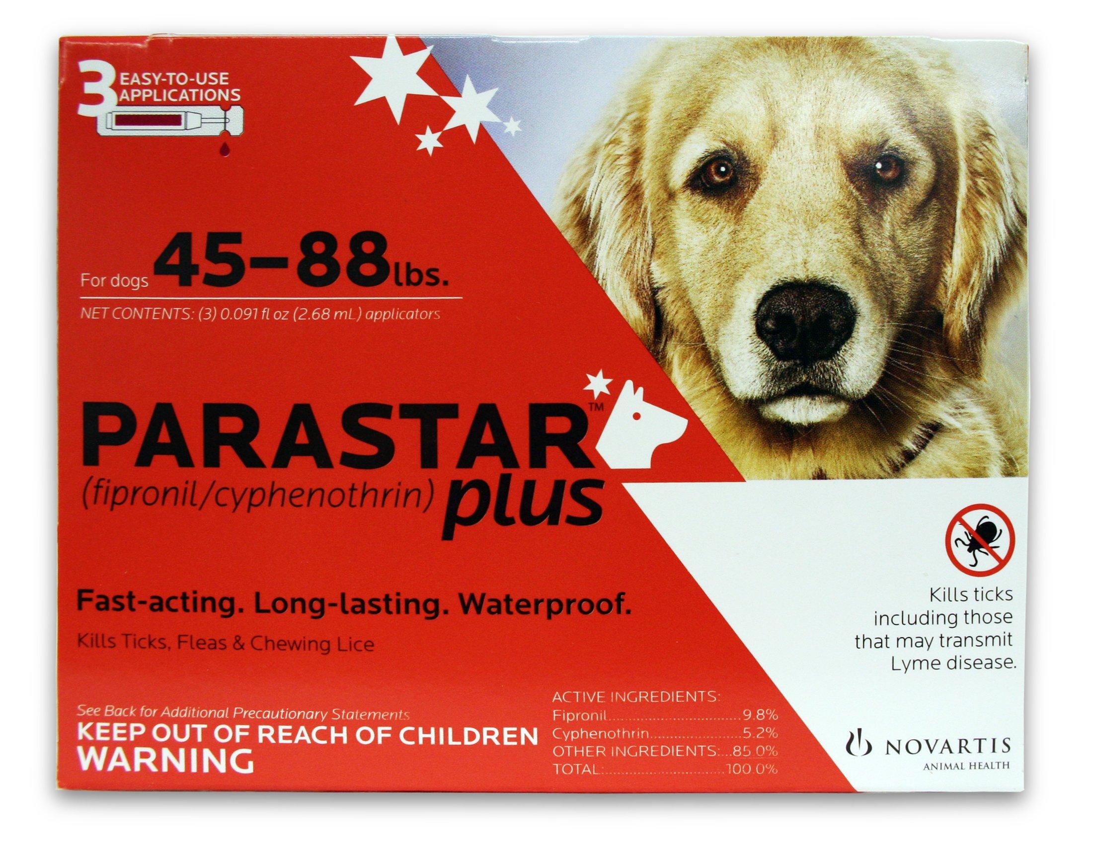 Novartis Parastar Plus Flea and Tick Control for Dogs, 45 to 88-Pound, Red by Parastar