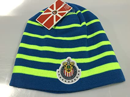 CLUB CHIVAS GUADALAJARA Blue/Neon Green BEANIE HAT (GORRA BEANIE) (Neon Green
