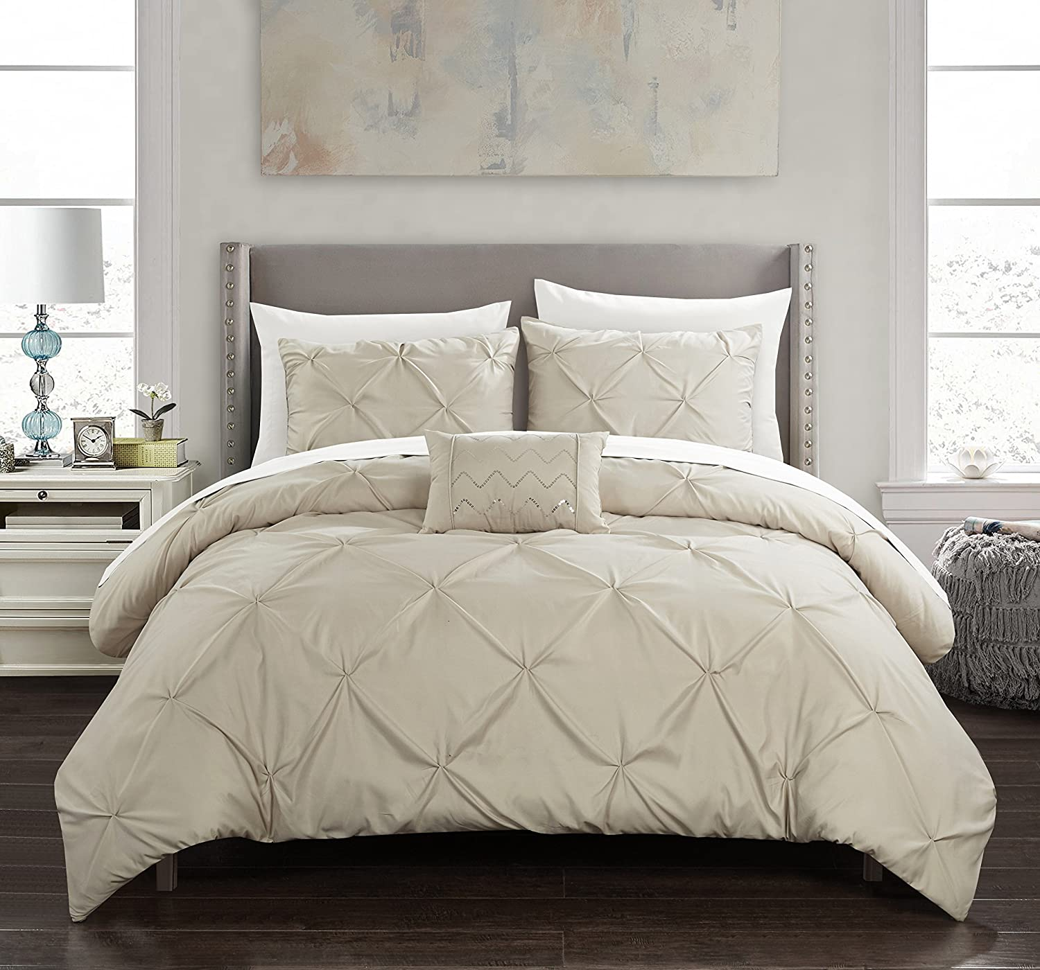 Chic Home Daya 4 Piece Duvet Cover Set Pinch Pleat Ruffled Design Embellished Zipper Closure Bedding - Decorative Pillow Shams Included, King, Taupe