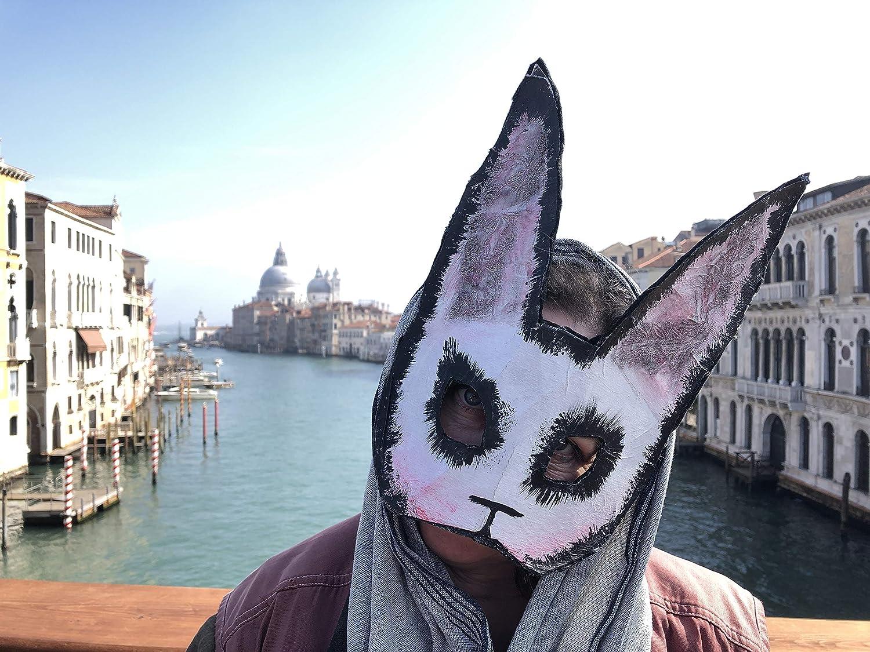 Adult Halloween Mask Splicer Style Handmade Custom Movie Props Creepy Bunny Mask Scary Rabbit Mask White Rabbit Masquerade Mask