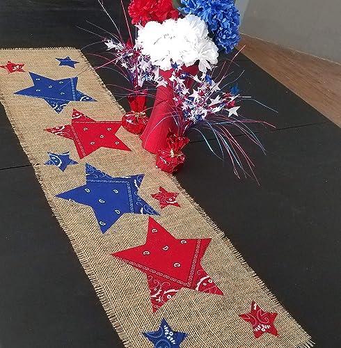 Amazon Com Patriotic Table Runner Burlap And Bandana Stars 4th Of