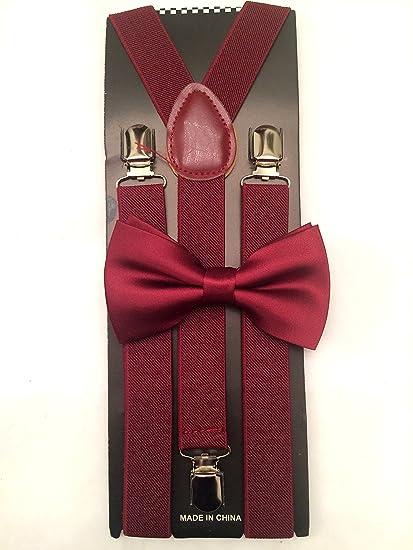 Amazoncom Burgundy Suspender And Bow Tie Matching Set Tuxedo