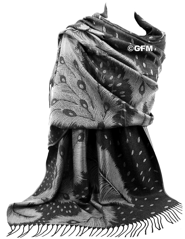 GFM Pashmina Stil Schal mit Pfauenfeder Muster PCKPASH Warm f/ür Herbst und Winter
