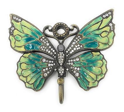 Bejeweled y esmaltado estaño gancho para pared, diseño de mariposa, color azul y amarillo