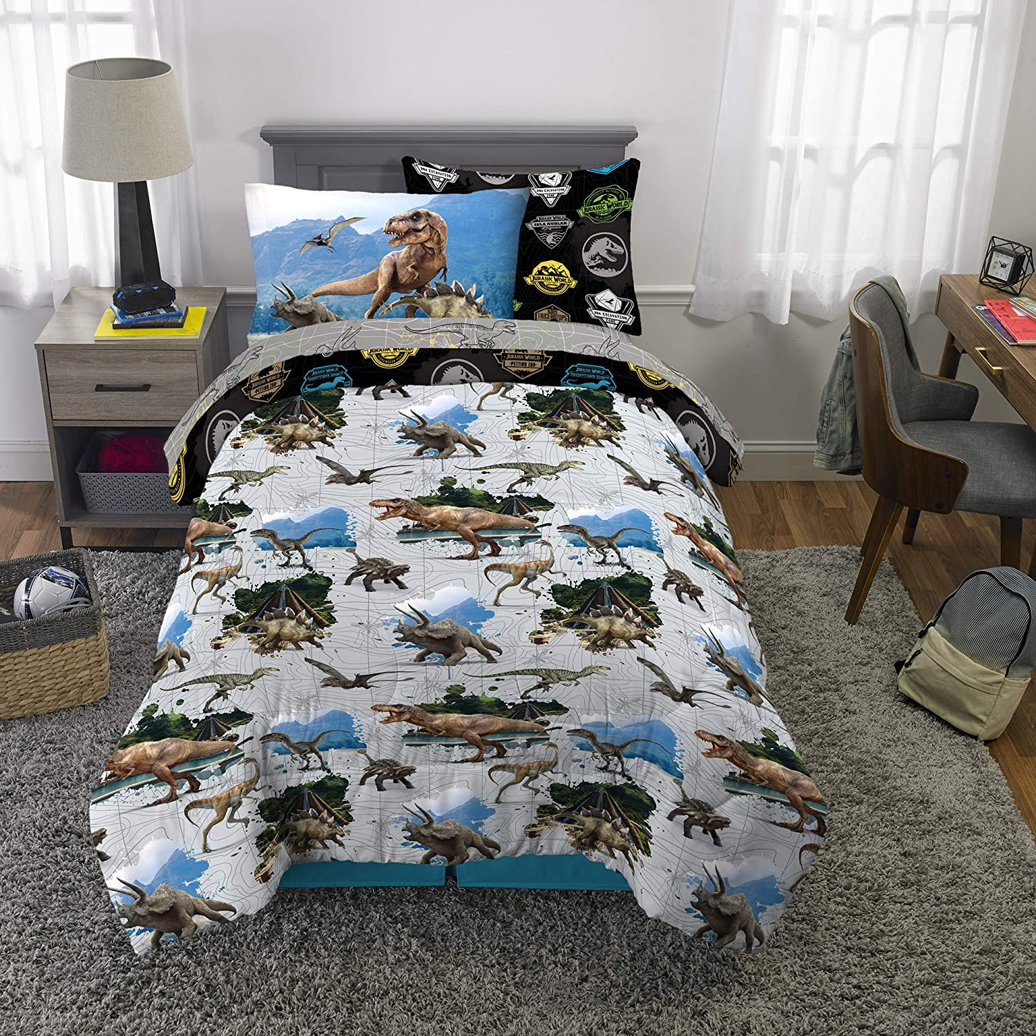 Franco Kids Bedding Super Soft Comforter and Sheet Set with Bonus Sham, 5 Piece Twin Size, Jurassic World