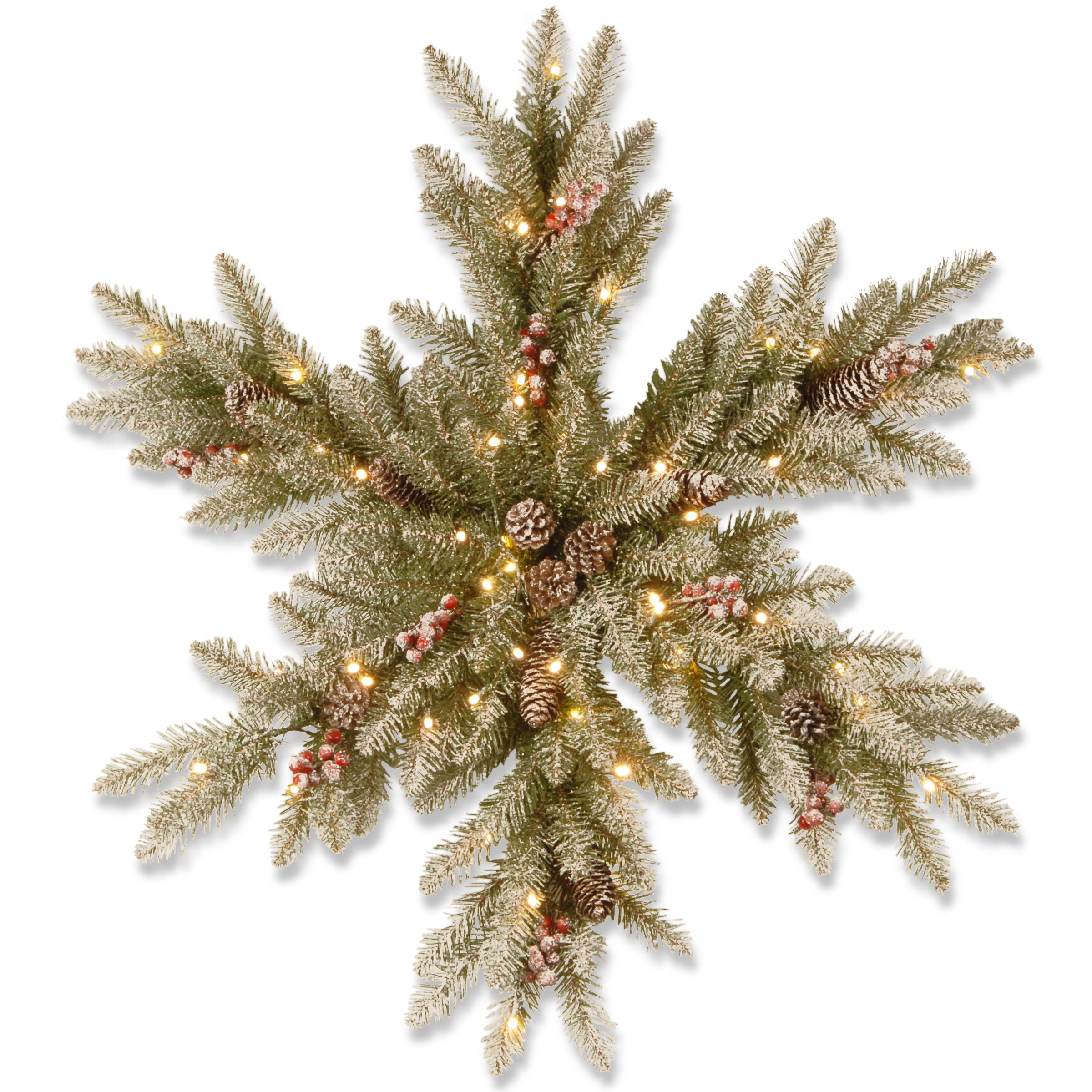 National Tree 32 Inch Dunhill Fir Snowy Snowflake with Cones, Red Berries and 35 Warm White Battery Operated LED Lights with Timer (DUF3-300L-32SB1)