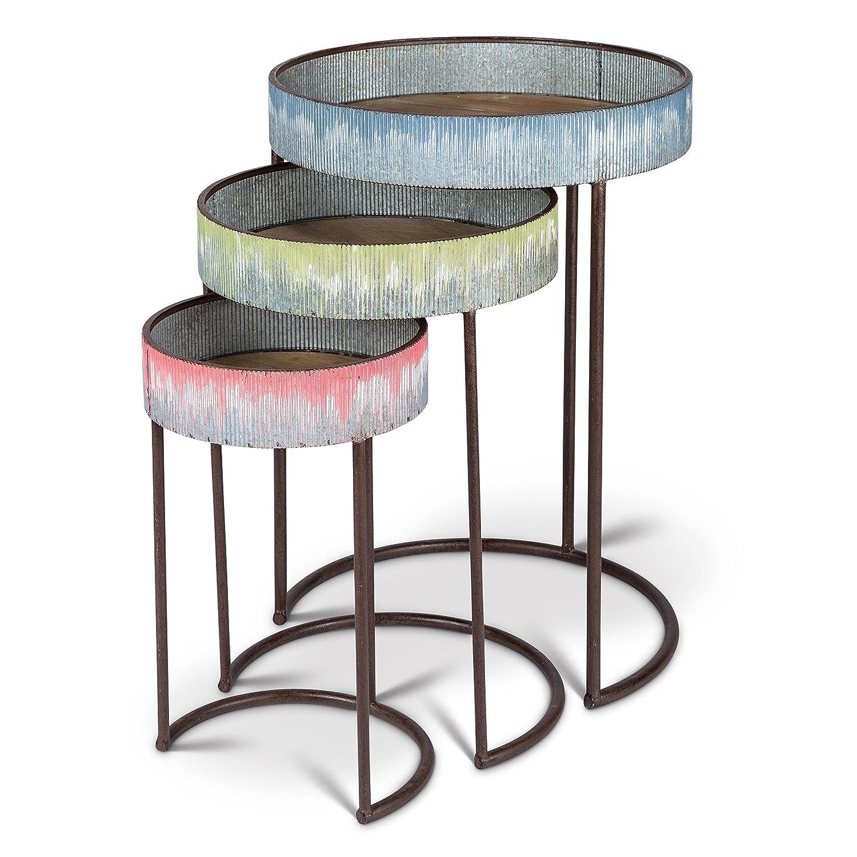 Lone Elm S//3 Drip Metal Side Tables 19.75Inl x 19.75Inw x 27.6Inh