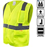 RK Safety 8512 High Visibility Safety Vest with Reflective Strips and Pockets - ANSI/ ISEA Standard- Class 2 (Small, Neon Yellow)