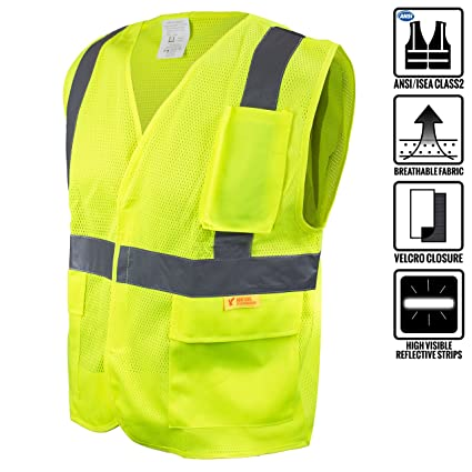 Careful High Visibility Mesh Fabric Safety Vest Reflective Mesh Vest Breathable Free Shipping Safety Clothing Workplace Safety Supplies