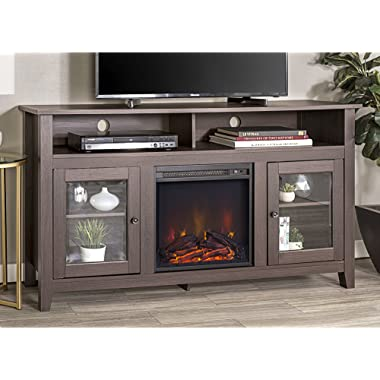 WE Furniture 58  Wood Highboy Style TV Stand Fireplace Console, Espresso