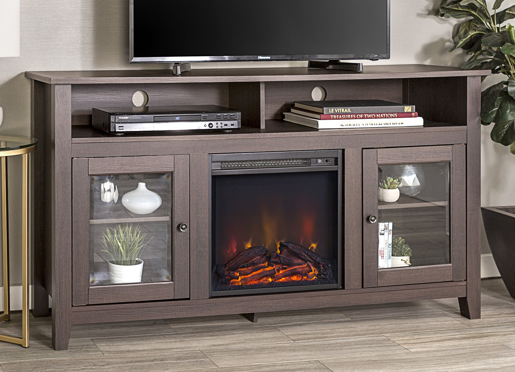 WE Furniture 58'' Wood Highboy Style TV Stand Fireplace Console, Espresso by WE Furniture