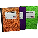 "Norcom Composition Notebooks Orange, Green, Purple ""Wide Ruled"" Bundle Pack of 3 (1 of each Color)"