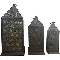 Alla Turca AT5004 Dekoratif Fener ve Mumluk, Siyah, 3 Parça