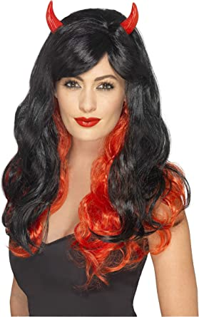 Black /& Red Vampiress Wig Ladies Fancy Dress Halloween Devil Costume Accessory